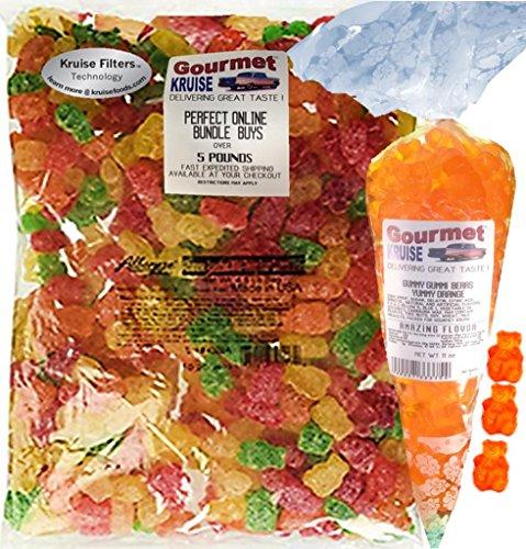 Albanese Sour Gummi Bears 4.5LB Bag With Energy Orange Gummy Bears Gourmet Kruise Signature Gift Bag 11 OZ (NET WT 83 OZ) 2 Item Bundle