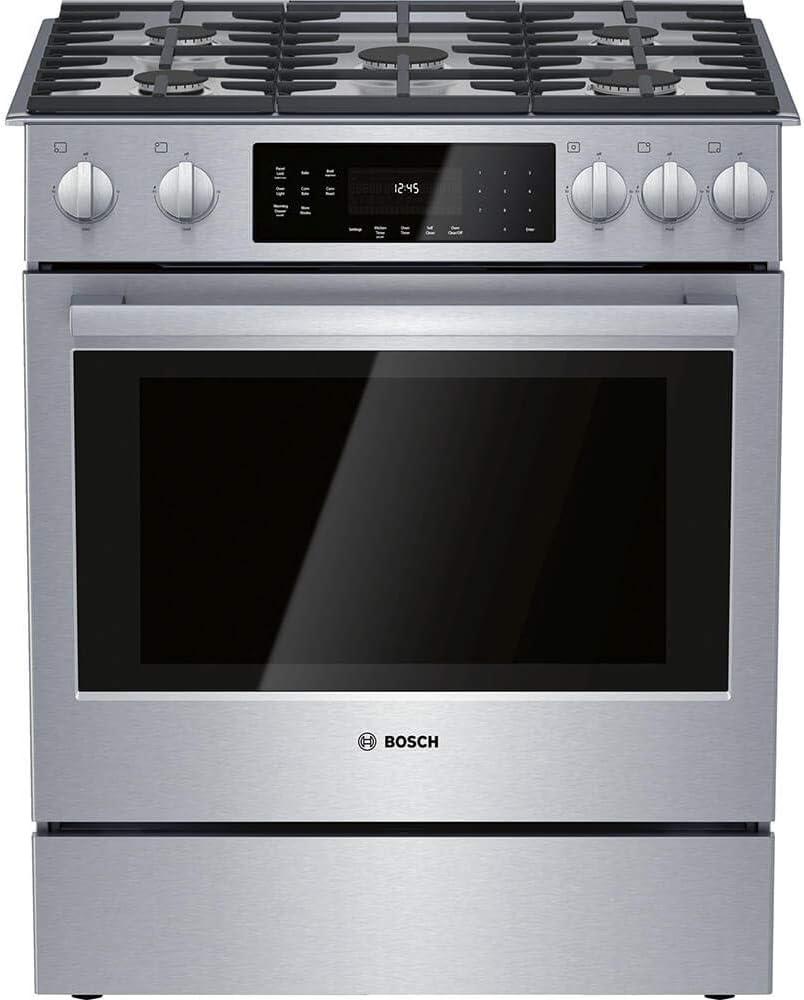 Amazon Com Bosch Hgi8056uc 4 8 Cu Ft Stainless Gas Slide In Range Appliances