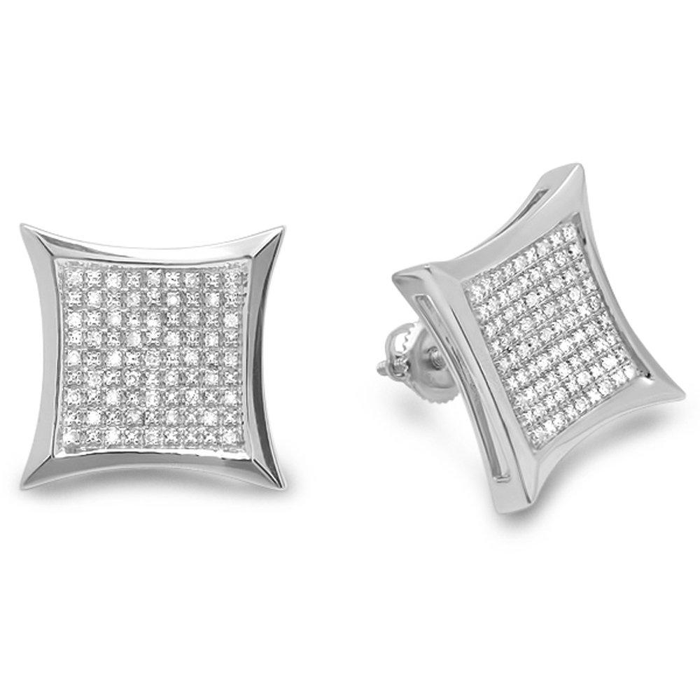 0.35 Carat (ctw) Sterling Silver Round Diamond Kite Shape Mens Hip Hop Iced Stud Earrings 1/3 CT