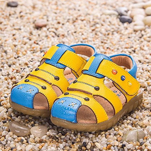 CHENGYANG Unisex Kinder Netter Geschlossene Sandale T Strap - Lauflernschuhe Schuhe Sandalen Hell Gelb Blau