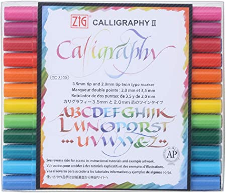 Zig Memory System Calligraphy Markers 2mm, 3.5mm, 6 Colors Set Multicolor