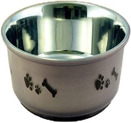Amazon Com Buddy S Line Non Skid Stainless Steel Fusion Pet Bowl Dog Bowls Stainless Steel Pet Supplies