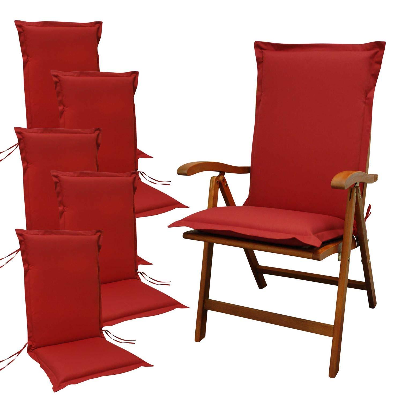 Indoba 6 x Sitzauflage Hochlehner Premium Polsterauflage Rot