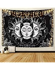 """Sun and Moon Tapestry Burning Sun with Star Tapestry Psychedelic Tapestry Black and White Mystic Tapestry Wall Hanging (XL:92"""" x 71"""")"""
