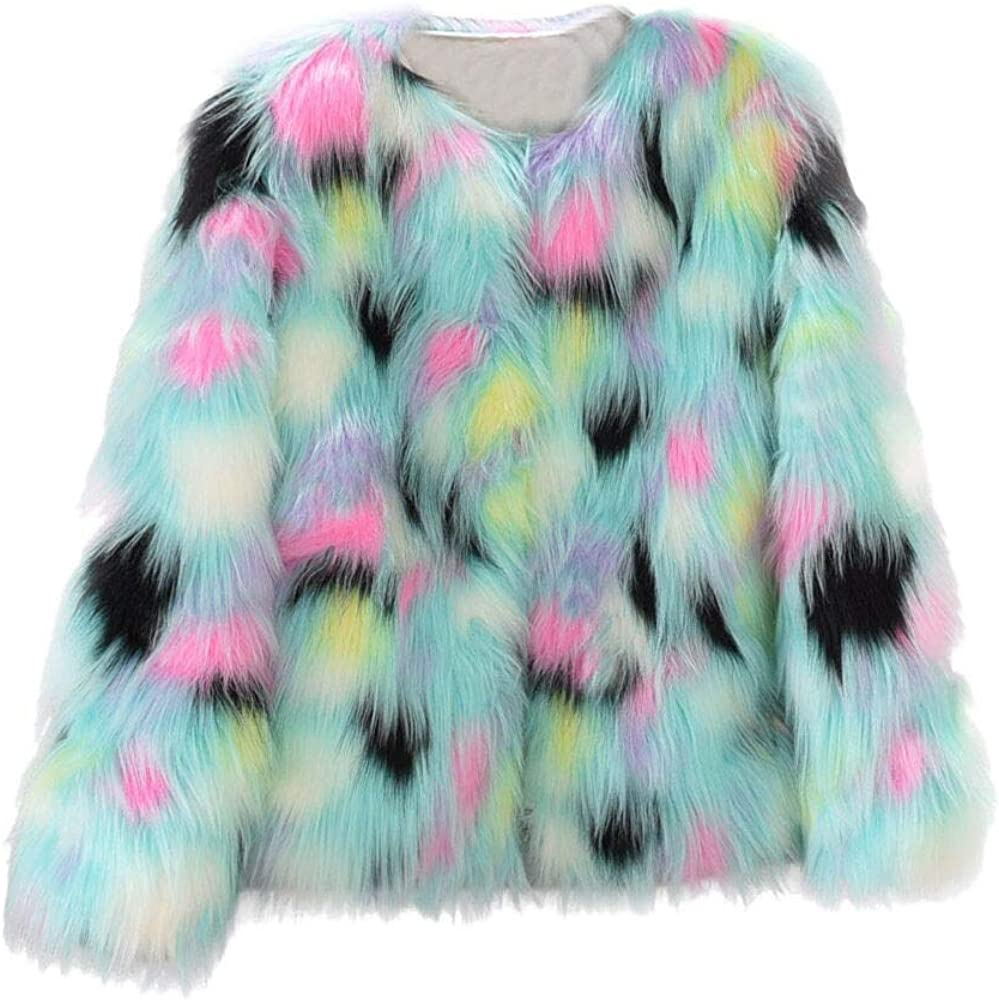 YYW Women Multicolor Winter Long Sleeve Faux Fur Coat Warm Parka Outwear Open Front Jacket