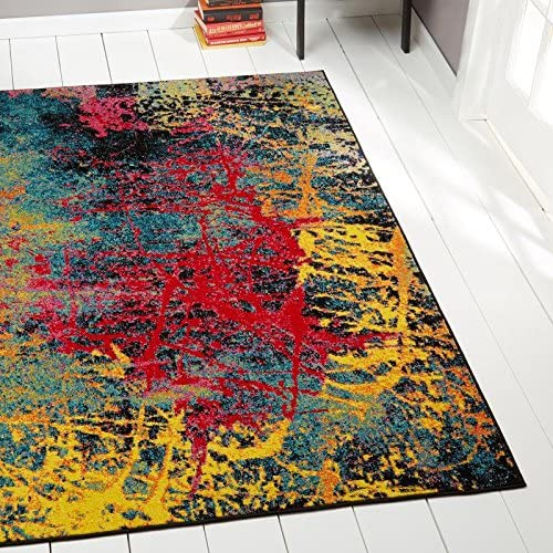 Home Dynamix Splash Tomie Area Rug 7 10 x10 2, Abstract Black Blue Pink Yellow