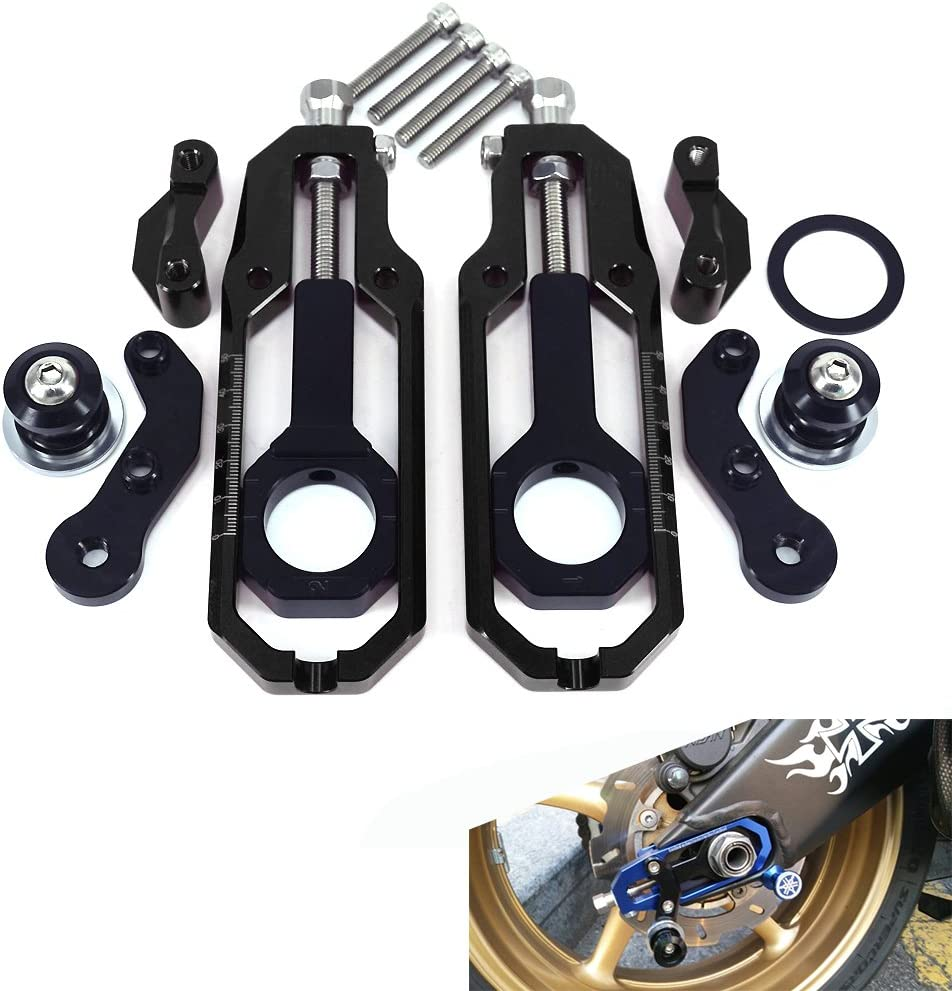 CNC Aluminum Motorcycle Chain Adjusters Tensioners For Yamaha YZF R1 2007-2010 Dirt Pit Bike Gold