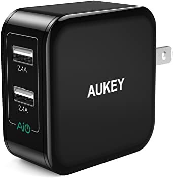 Aukey USB 24W Dual-Port w/AiPower and Foldable Plug Wall Charger