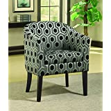Coaster Charlotte Transitional Hexagon Print Accent Chair with Wood Legs