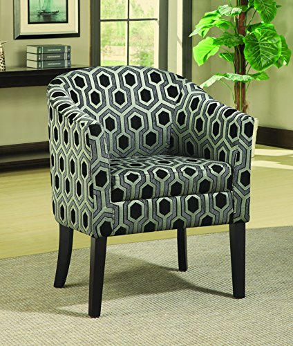 (Charlotte Hexagon Patterned Accent Chair Grey and White)