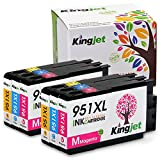KINGJET 951XL Ink Cartridges, Color Ink Replacements Compatible with Officejet Pro 8100 8600 8610 8615 8620 8625 8630 Printers(2Magenta, 2Cyan, 2Yellow)