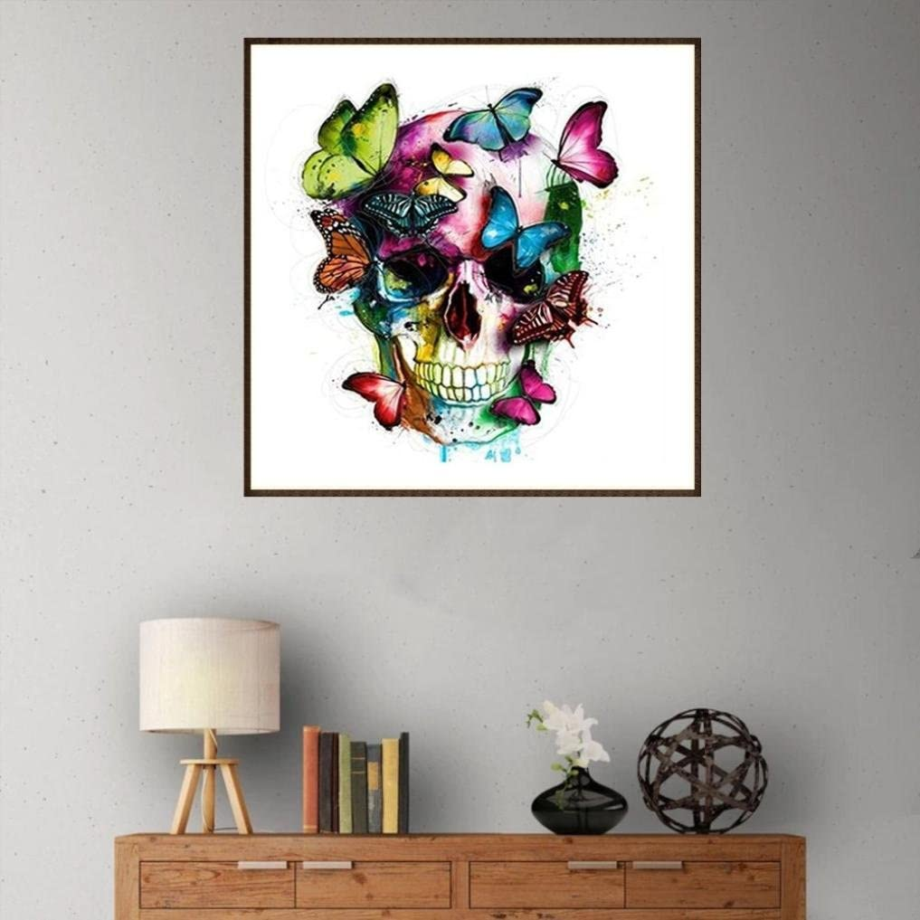 Staron 5D Diamond Painting by Number Kits A Full Drill Butterfly Skull DIY Cross Stitch Kit Crystals Painting 5D Diamond Embroidery Rhinestone Pictures Painting Canvas Arts Wall Decor Craft