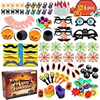 Acekid 124pcs Halloween Party Toys, Assortment Novelty Toys for Halloween Trick or Treat, School Classroom Rewards,Halloween Miniatures, Halloween Prizes
