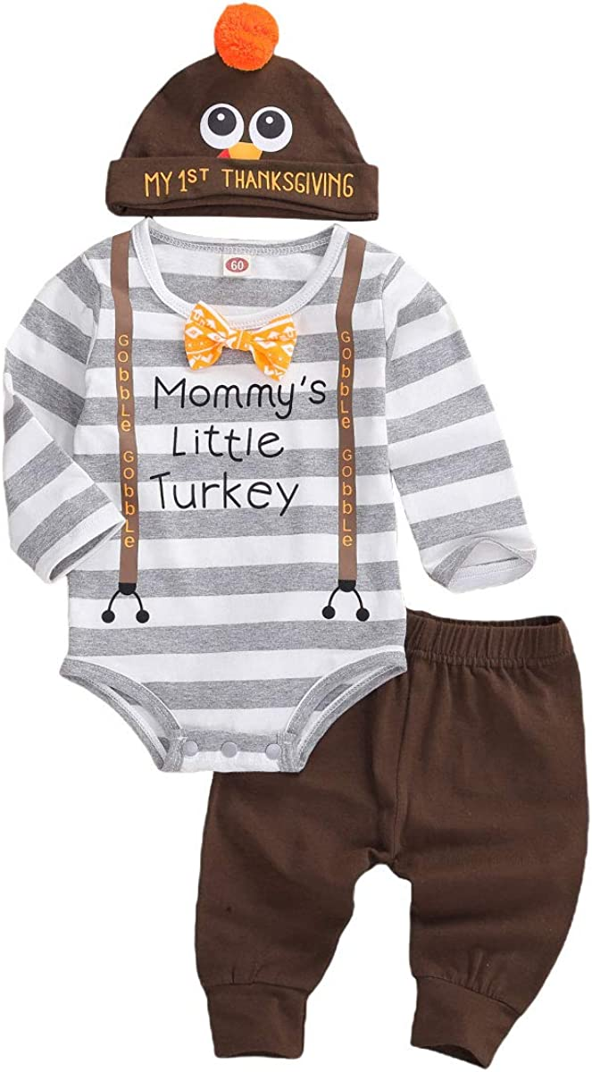 Newborn Baby Boy Girl Thanksgiving Outfit My 1st Thanksgiving Romper Bodysuit Turkey Pants Hat 3PCS Clothes Set