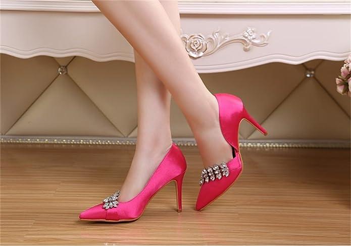 Xianshu Spitze Zehe Seide Rhinestone Stiletto Schuhe Hochzeits Absatz Pumpen(Pink-43) ULvYzB3W