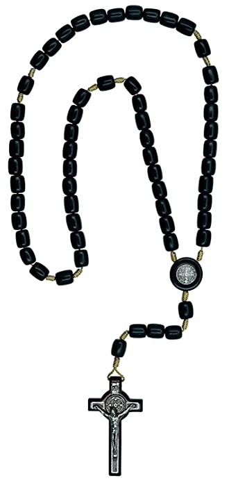 Catholica Shop Catholic Religious Wear Saint Benedict Crucifix Cross Necklace With Wood Beads Rosary 20 Inch