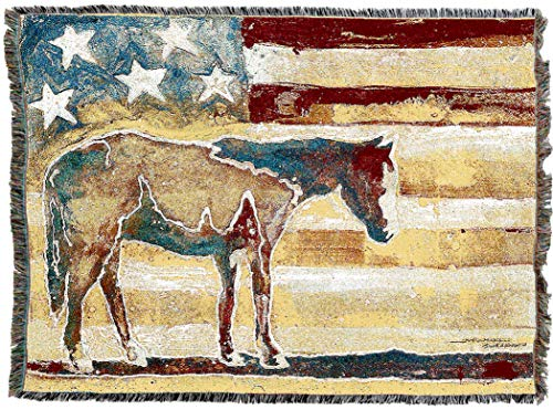 - Pure Country Weavers | Western Horse Woven Blanket | Tapestry Throw with Fringe Cotton USA 72x54