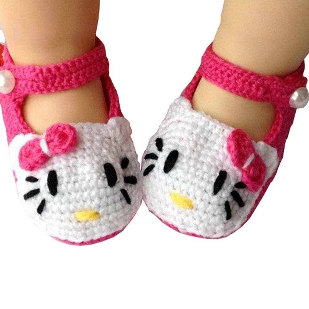 Eleery Newborn Infant Girls Handmade Cute Rose Red Flower with bead Crochet Knit Socks Booties Crib Casual Shoes Prewalker 0-12 months (Rose Red&Green) 05C0005