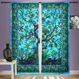 Cheap Tree Of Life Curtain Wall Hanging,2 Panels Set, 82 X 82 Inch Mandala Window Curtains Panels Pair 82 Length Set of 2,Bird Tapestry,Indian hippie curtains Bohemian psychedelic Ombre-mandala Wall-hanging