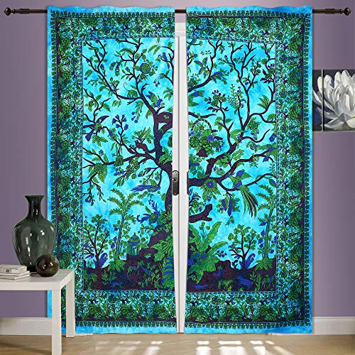 - Tree Of Life Curtain Wall Hanging,2 Panels Set, 82 X 82 Inch Mandala Window Curtains Panels Pair 82 Length Set of 2,Bird Tapestry,Indian hippie curtains Bohemian psychedelic Ombre-mandala Wall-hanging