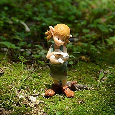 Top Collection Miniature Fairy Garden and Terrarium Pixie Hugging Bunny Figurine: Garden & Outdoor