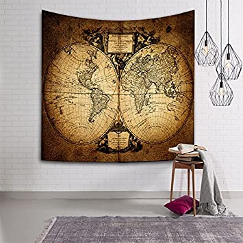 HmDco Weltkarte Tapisserie Wand Decke Hängende Tuch Schlafzimmer Dekoration,  Braun, 203 * 150 Cm