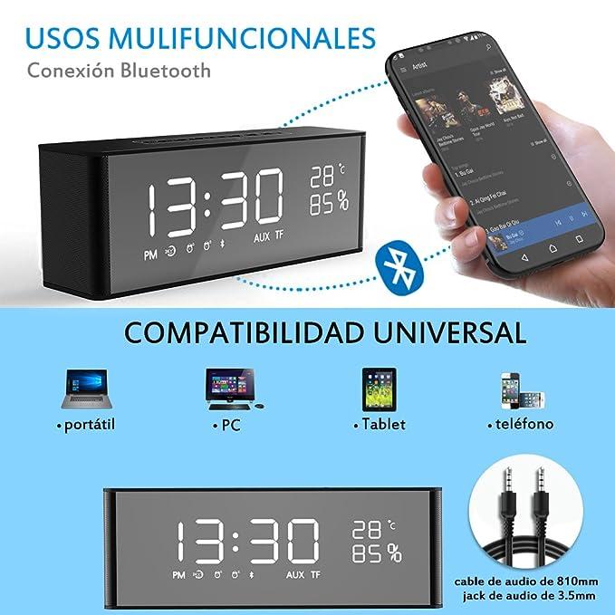 Wireless Bluetooth Speaker + 2 Alarm Clock with FM: Amazon.co.uk ...