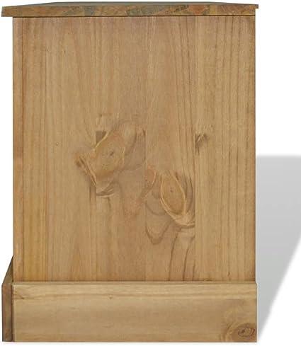 vidaXL Madera Maciza de Pino Mesa Consola Estilo Panam/á Hogar Duradera Robusta Resistente Pr/áctica Funcional Elegante Moderna /Útil Gris 110x40x72cm