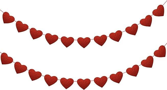 PVC Jardin Bunting rouge motif cœur