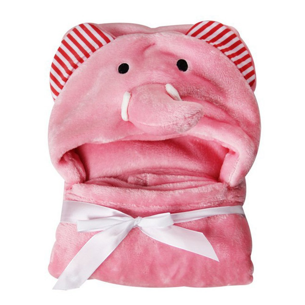 Dulcklane Baby Bathrobe Cute Animals Hooded Ultra-soft Fleece Bathing Wrap Blanket,0-6 Years Old, 85*78CM (Pink Elephant)
