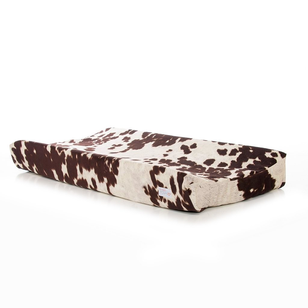 Western Cowboy Changing Pad Cover Super Soft Brown Cowhide by Sweet Potatoes