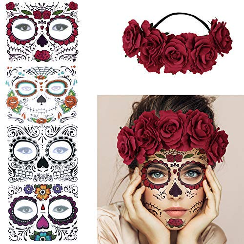 4 Kits Day of the Dead Sugar Skull Temporary Face Tattoo Makeup Tattoo for Men and Women with 1 Rose Red Flower Crown Headband for Halloween Costume