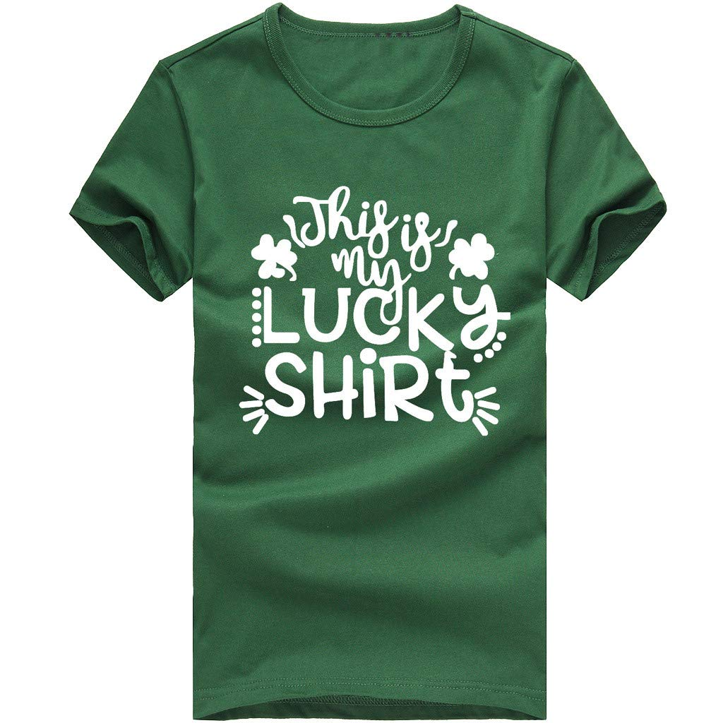 Corriee St. Patrick's Day Shirts for Women Men Letter Printed Graphic T-Shirt Unisex Summer Tunic Tops Blouse Green