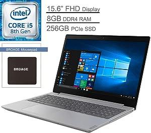 "Lenovo IdeaPad L340 Laptop Computer_ 15.6"" FHD_ Intel Quad-Core i5-8265U Up to 3.9GHz (Beats i7-7500U)_ 8GB DDR4 RAM, 256GB PCIe SSD, DVDRW_ Type-C_ 802.11AC WiFi_ Grey_ Windows 10_ BROAGE Mouse Pad"