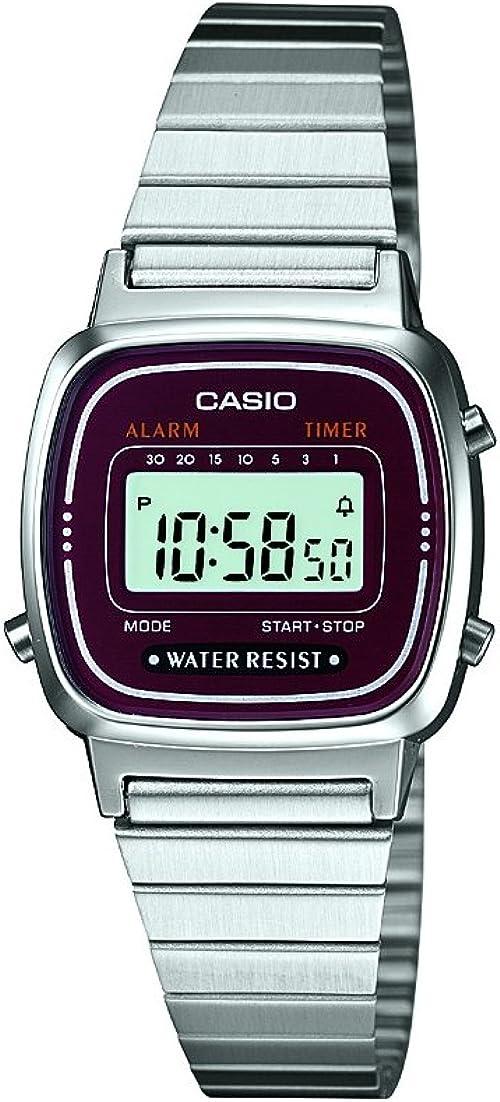 Casio LA670WEA-4EF - Reloj Digital de Cuarzo para Mujer con Correa de Acero Inoxidable, Color Plateado