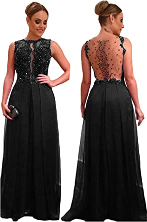 CL Bridal Women s Beaded Crystals Appliques Crew Neck See Through Back Prom  Dress Evening Gown Black 1ff6bc520be9