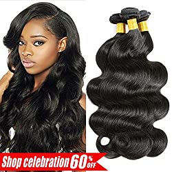 Ameli Hair Human Hair Bundles Brazilian Hair Body Wave 3 bundles 100% Unprocessed Human Hair Extensions Natural Color (16 18 20 inch)