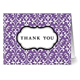 24 Thank You Note Cards - Damask - Purple- Blank Cards - Gray Envelopes Included