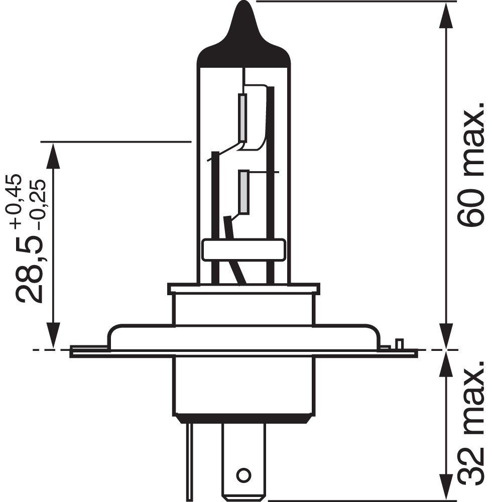 12 V Bosch 1 987 302 041 BLB472 H4 Pure Light Bulb