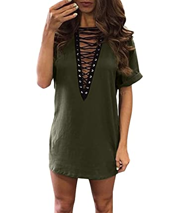 550624413df1 ZANZEA Women s Lace Up Deep V Short Sleeve T Shirt Dress Sexy Loose Mini  dress Army