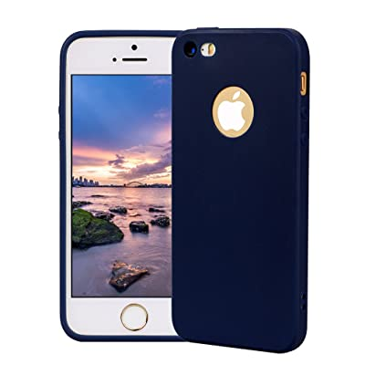 Funda iPhone 5, Carcasa iPhone 5S Silicona Gel, OUJD Mate Case Ultra Delgado TPU Goma Flexible Cover para iPhone 5/SE - Azul