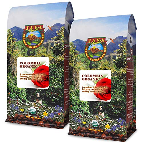 Java Planet - Colombian USDA Organic Coffee Beans, Rainforest Alliance, Low Acid, Medium Dark Roast, Whole Bean Coffee, Arabica Coffee, Gourmet Specialty Grade A - 2 1lb bags