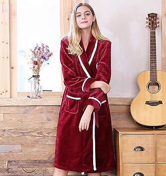 Espesar Calentar Bata De Baño Mujer Invierno Otoño Casual Algodón Bata De Kimono Cómodo Homewear,Winered(Female),XL: Amazon.es: Hogar