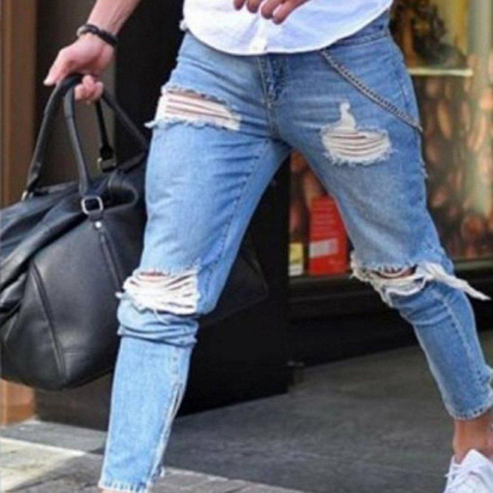 Hombre Fashion Straight Fit Cremallera Casual Jeans Rotos Moda Cintura Media Slim Fit Denim Pantalones Azul Claro Hombre Vaqueros Largo Ropa Hyacinthaneke Com