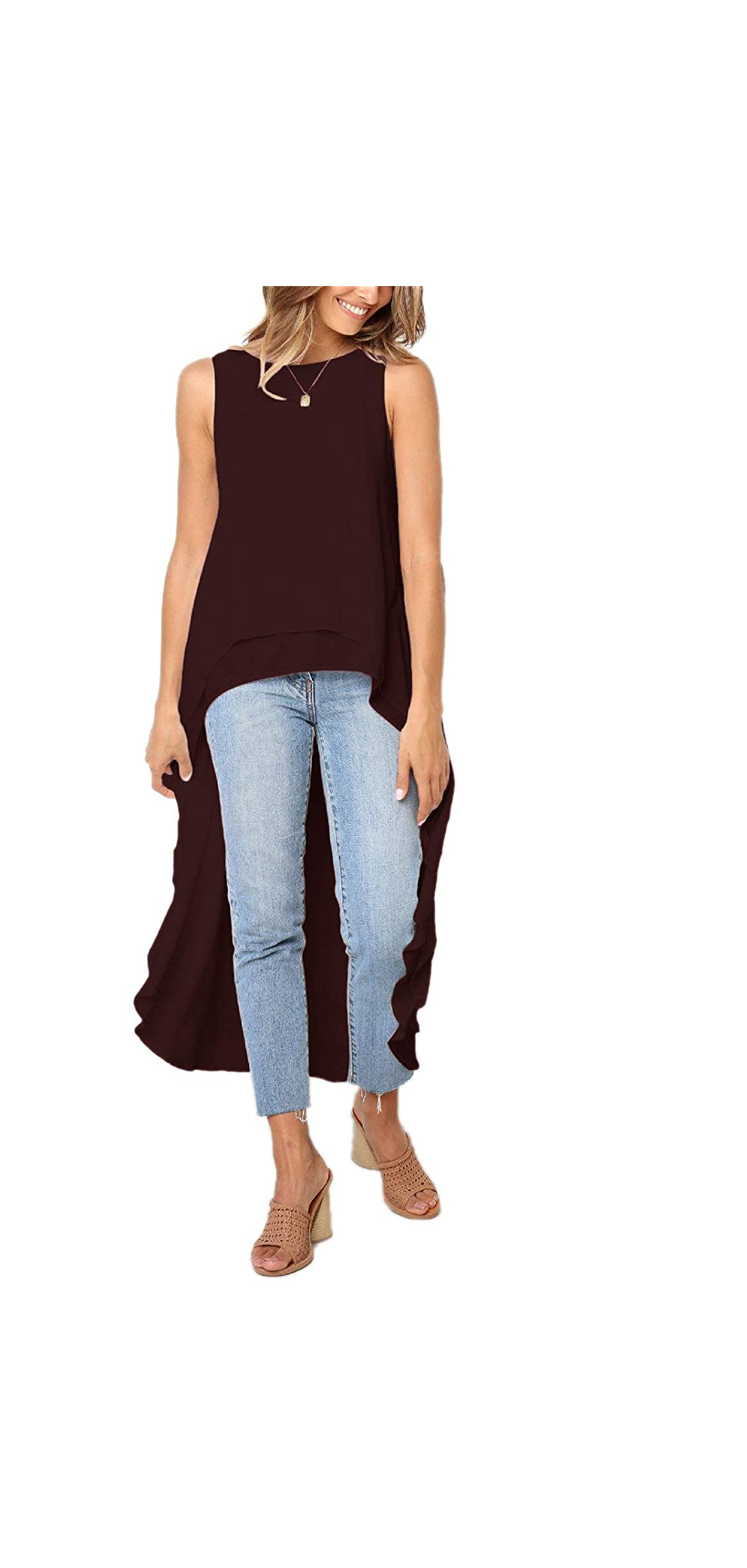 Women's Lantern Long Sleeve Tops High-low Hem Tunic Hem