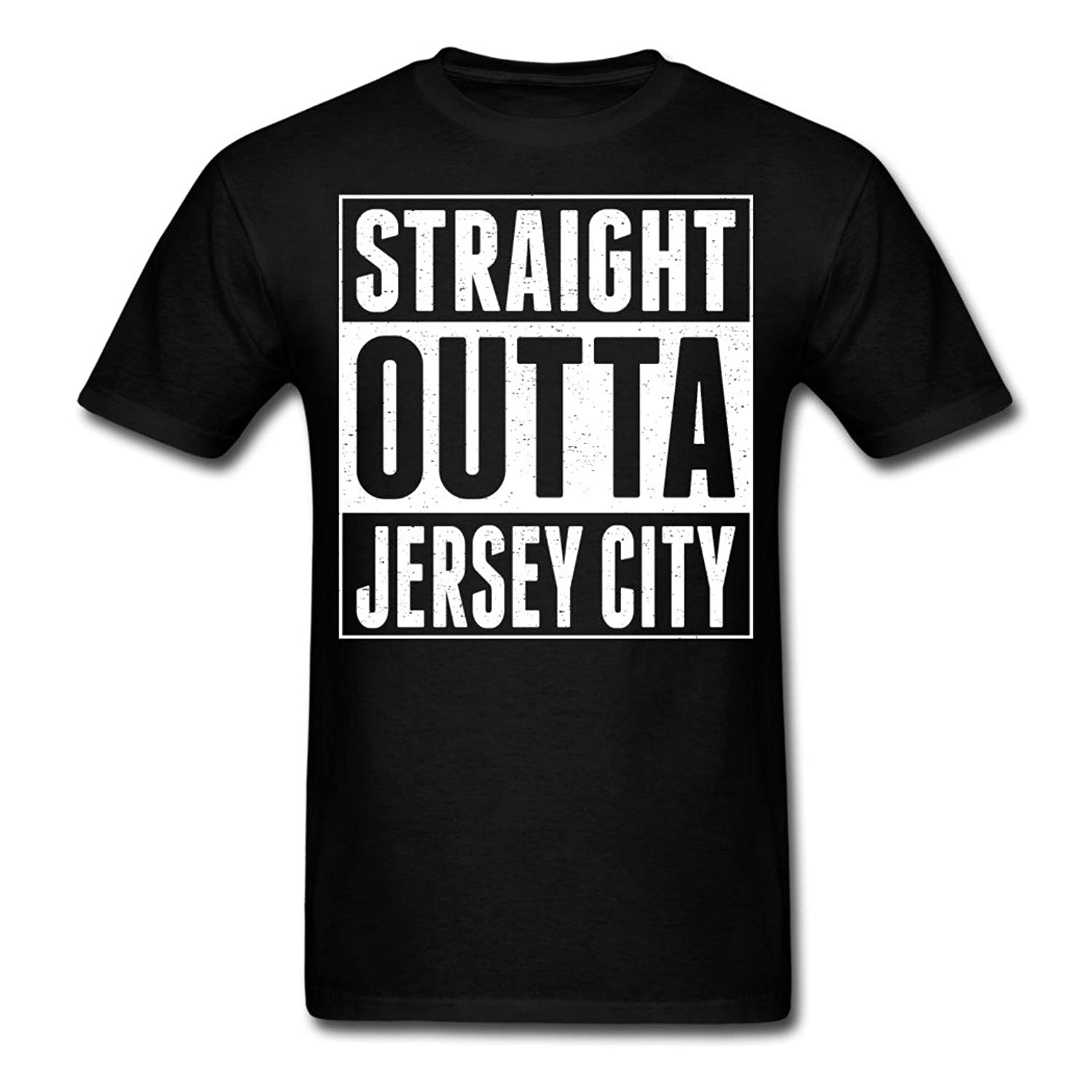 Top Sky 1 On Discount Straight Outta Jersey City Black Men's T-Shirt