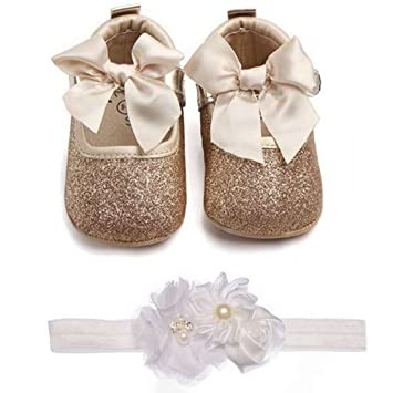 63b8a6dfa35b Image Unavailable. Image not available for. Color: Lidiano Baby Girls  Bowknot Sequins Bling Anti-Slip Mary Jane Flat Crib Shoes ...