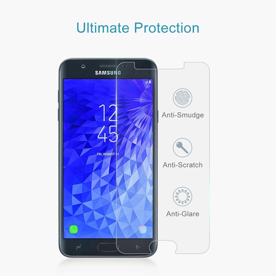 GzPuluz Glass Protector Film 100PCS 9H 2.5D Tempered Glass Film for Galaxy J7 2018