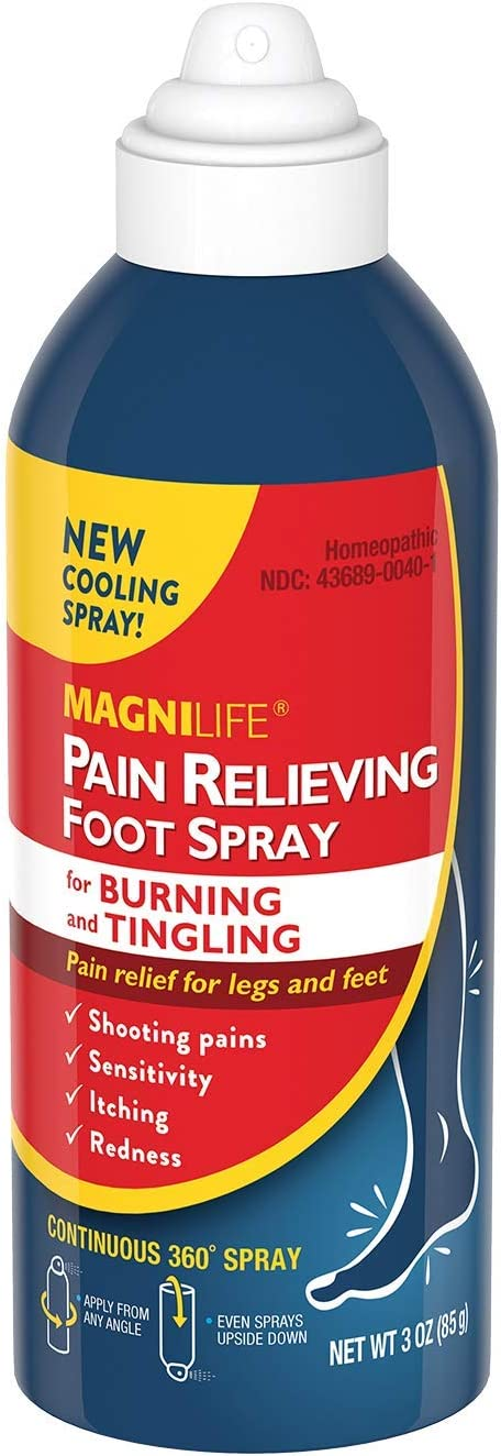 MagniLife Pain Relieving Foot Spray Natural Relief for Soreness, Pain, Burning, Tingling or Sensitivity in Feet & Legs - All-Natural Homeopathic Cooling Topical - 3oz