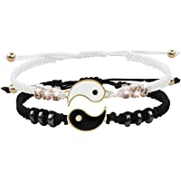 Best Friend Bracelets for 2 Matching Yin Yang Adjustable Cord Bracelet for BFF Friendship Relationship Boyfriend…